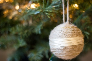 These natural ornaments are foam balls wrapped with twine. I used a glue gun to hold the string in place
