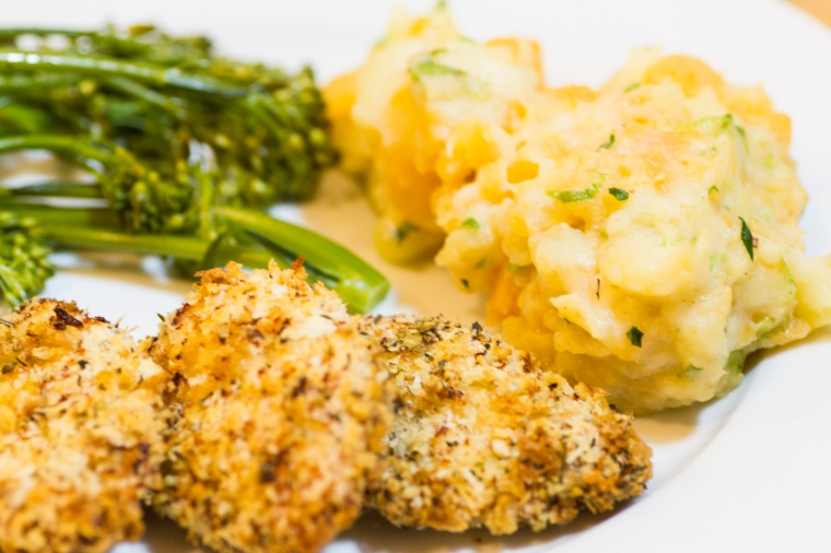 Panko herb crusted chicken with scallion mash potato recipe