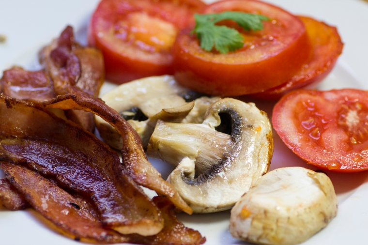 """Half English Breakfast"" Dairy -free. Bacon, tomatoes and mushrooms on Handful of Sunshine"