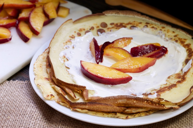 Nectarine breakfast or dessert crepes
