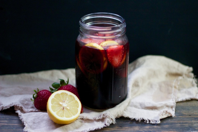 Summer strawberry sangria recipe on handfulofsunshine.com
