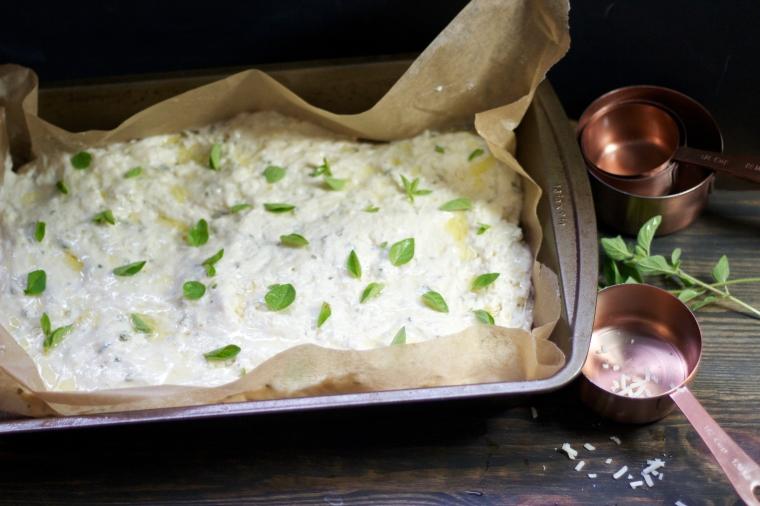 Oregano asiago focaccia ready to bake