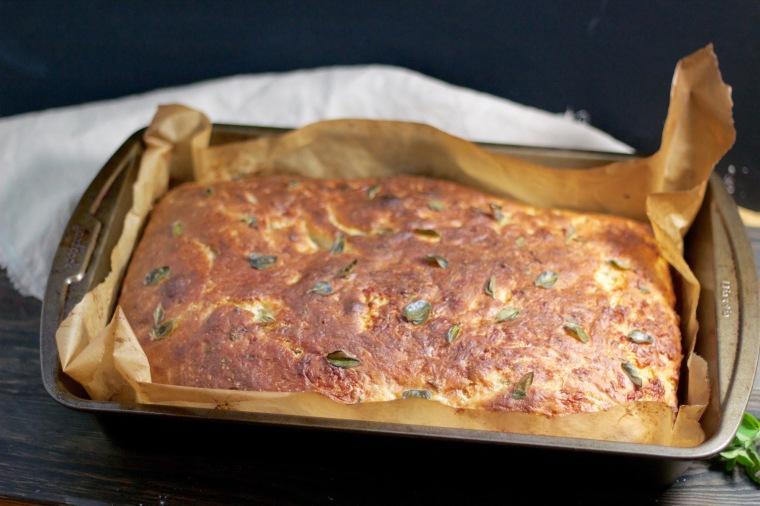Freshly baked oregano asiago focaccia