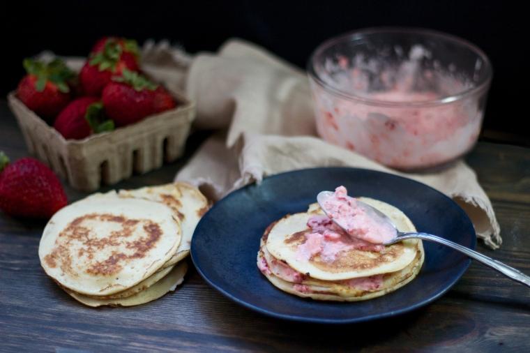 Strawberries & cream crepe cake recipe on handful of sunshine