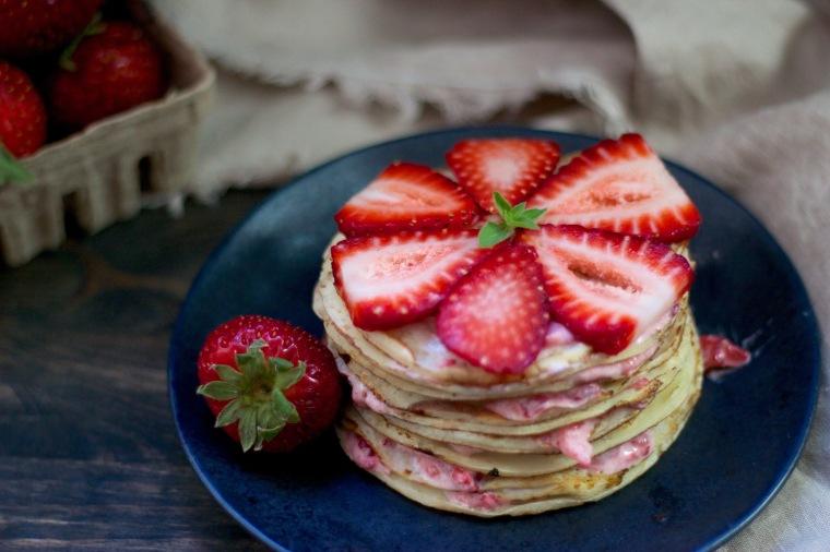 Sugar-free strawberries & cream crepe cake recipe on handful of sunshine