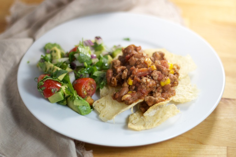Chile con carne with nachos and avocado salsa on Handful of Sunshine
