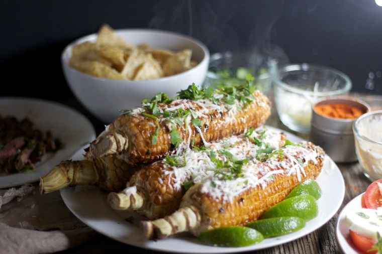 Elotes - Mexican-style street corn on Handful of Sunshine