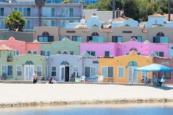Colorful houses in Capitola, California. On handfulofsunshine.com